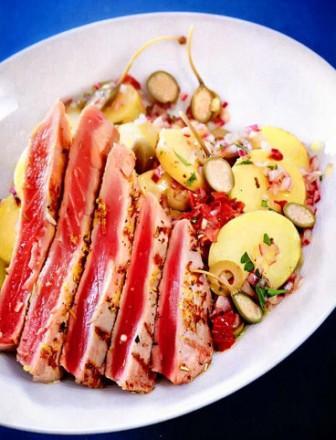 стейк из тунца на сковороде гриль рецепт